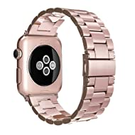 Simpeak Band Compatible with Apple Watch 38mm 40mm, Stainless Steel Wirstband Strap Replacement for Apple Watch Series 5 4 3 2 1, Rose Gold