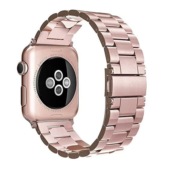 116258a3b5f Image Unavailable. Image not available for. Color  Simpeak Stainless Steel Band  Strap Compatible Apple Watch 38mm 40mm Series 1 Series 2 Series 3