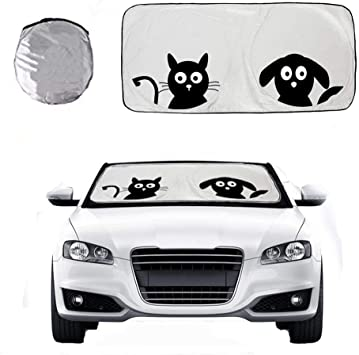 Black Cartoon Eyes Front Auto Windshield Visor Protector Keep Vehicles Cool Excellent Block UV Ray Car Sun Shade