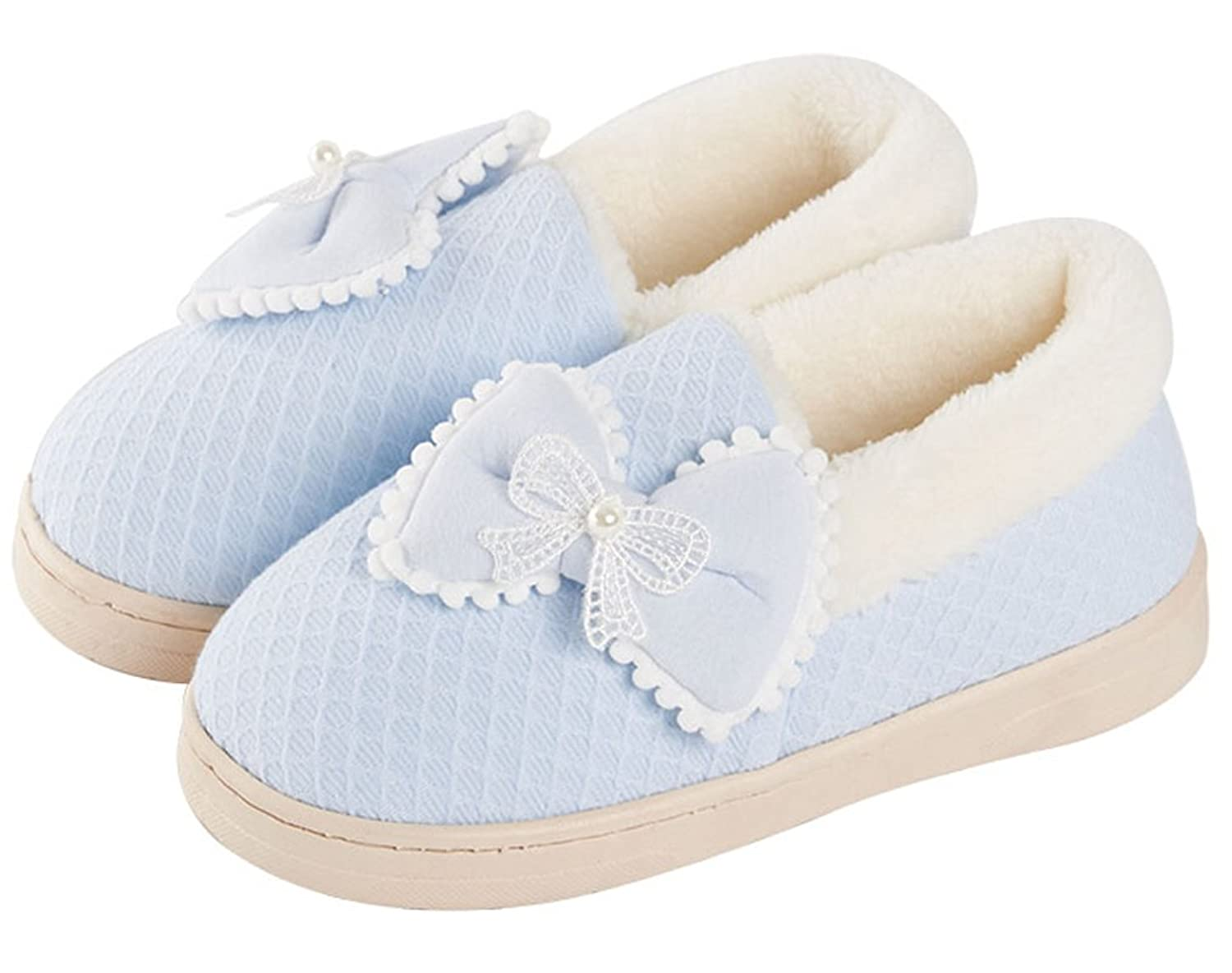 FreLO Women's Blue Cotton Bow Cute Slipper Shoes Warm Slippers