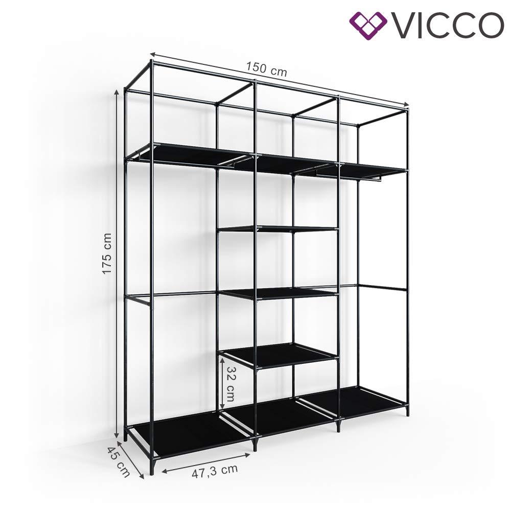 Vicco Kleiderschrank XXXL DIY Faltschrank Stoffschrank Steckregal System Grau, XL