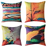 WOMHOPE 4 Pack - 17'' European Classic Style Cotton Linen Square Throw Pillow Case Decorative Cushion Cover Pillowcase Cushion Case for Sofa,Bed,Chair (K (Set of 4))