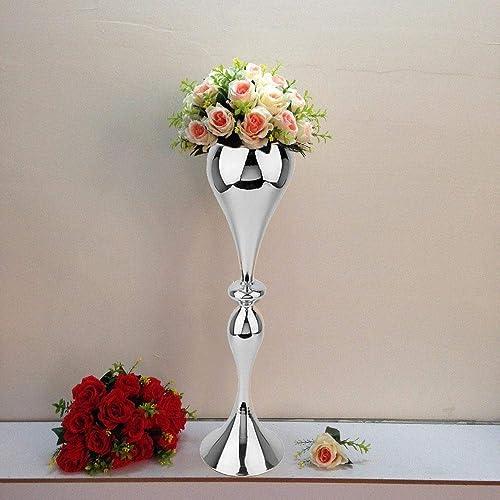 Efavormart 25 Tall Metallic Silver Floral Trumpet Vase Riser Wedding Centerpiece for Wedding Events Decoration
