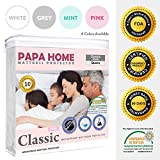 Waterproof Mattress Protector - Papahome Classic Hypoallergenic Mattress Protector - Lab Tested Waterproof - Fitted Polyester Jersey Cover - Vinyl Free - 4 Different Colors Available (Queen, Pink)