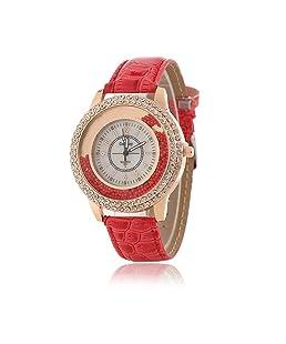 Femmes Fashion pour Montre à quartz avec bande en cuir rouge Mesdames cristal strass montre diamant–Cercle Façade Drifting Petit perles décoration