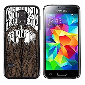 Paccase / SLIM PC / Aliminium Casa Carcasa Funda Case Cover para - Beard Movember Hipster Text - Samsung Galaxy S5 Mini, SM-G800, NOT S5 REGULAR!