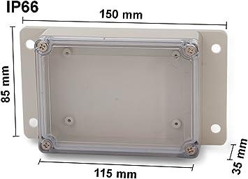 EDI-TRONIC carcasa caja recinto industrial vacío en plástico ABS con pestañas de montaje y cubierta transparente 115x85x35mm 83-110803T IP66: Amazon.es: Bricolaje y herramientas