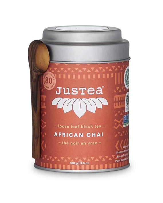 Amazon.com : JusTea AFRICAN CHAI | Loose Leaf Black Tea with Hand Carved Tea Spoon | 40+ Cups (3.5oz) | Medium Caffeine | Award-Winning | Fair Trade | Non-GMO : Grocery & Gourmet Food
