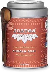 JusTea African CHAI | Loose Leaf Black Tea with Hand Carved Tea Spoon | 40+ Cups (100g) | Medium Caffeine | Award-Winning | Fair Trade | Non-GMO