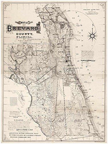 Antiguos Maps MAP of Brevard County Florida by J. Francis Le Baron Circa 1893 - Measures 32