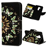 LG G7 Case, LG G7 Wallet Case PU Leather Cover Soft TPU Magnetic Closure & Kickstand Cash Credit Card Skin for LG G7, Gold Butterfly