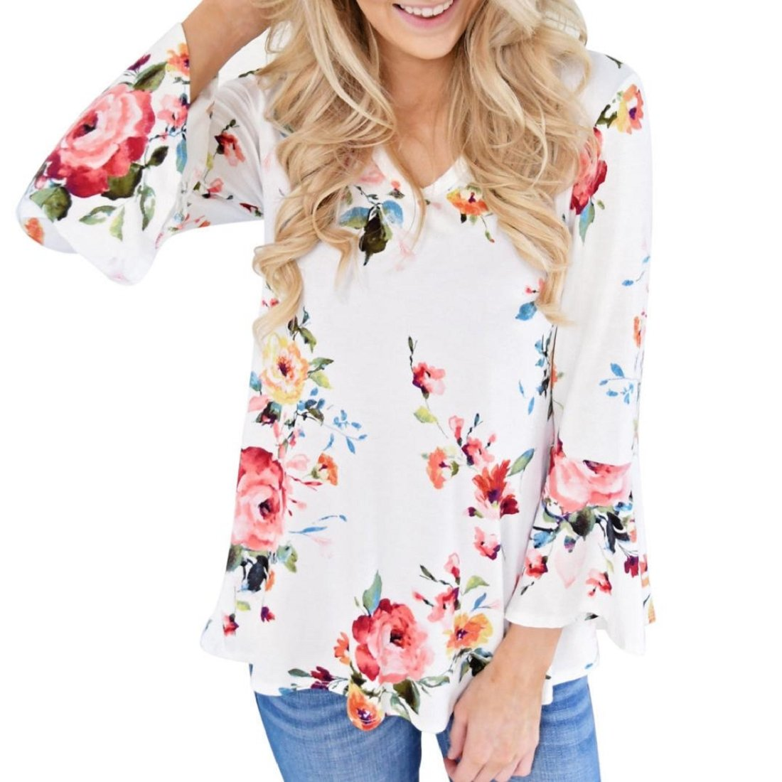 Women's Summer Plus Size Floral V-Neck Camisole Sleeveless Loose Tops Blouse XWJ520