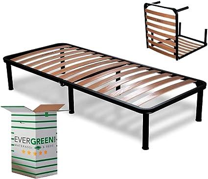 EvergreenWeb - Somier Individual Desmontable 90x190 h 35 cm de Láminas de Madera y Estructura Portante de Hierro con 6 Pies Extraíbles, Ortopédico, ...