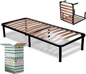 EvergreenWeb - Somier Cama Plegable Individual 80 x 190 con somier de Madera ortopédico, Estructura portante Completamente de Hierro, Base de ...