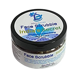 Diva Stuff Face Scrubbie India's Secret, Dissolves Blackheads, Whiteheads & Acne, Face Exfoliator with Turmeric, Lemongrass, Cinnamon, Baking Soda, Clears Pores & Controls Sebum