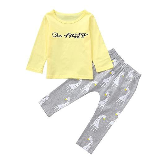 80ca1bf16f1 Amazon.com  Baby Boys Girls Pants Set Clothes on Sale for 0-24 months  T-shirt Tops Giraffe Pants Outfit Clothing set 2 Pcs  Clothing