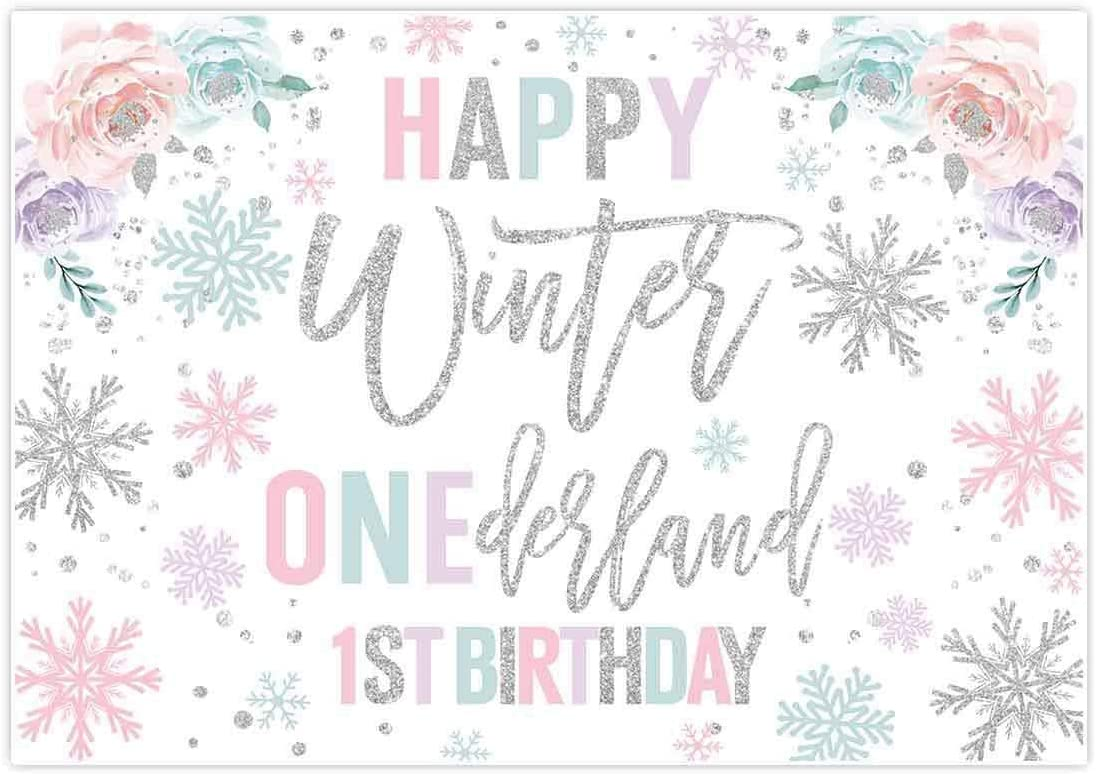 New Girl Penguin Winter Onederland Photography Backdrops Princess Baby Pink and Silver Winter Wonderland Snowflakes Happy 1st Birthday Party Decoration Photo Studio Background Banner 7x5ft