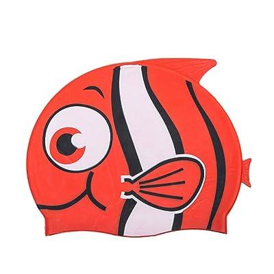 medifier joli motif poisson en silicone élastique Kid de l'eau de piscine Bain Chapeau de Chapeau d'oreille pour Enfant Kid, Pattern H