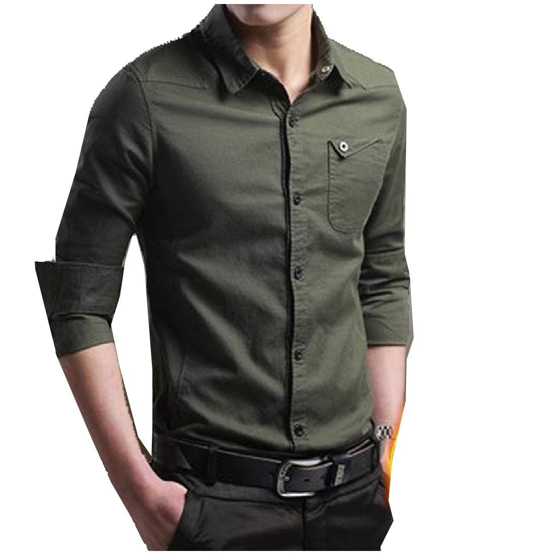 YUNY Mens Pure Color Lapel Long Sleeve Button Down Work Causal Shirt AS1 XS