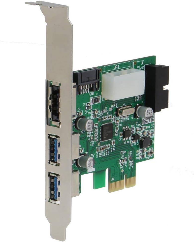 20 pin PCI Express 4 Port USB 3.0 NEC // Renesas uPD720201 + 1 Port PeSATA Adapter - 2 External + 2 Port Internal chipset SEDNA