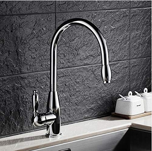 Mkkwp Kitchen Faucet Chrome Swivel 360 Degree Water Kitchen Faucet Brass Pull Out Single Handle Sink Hot Cold Water Mixer