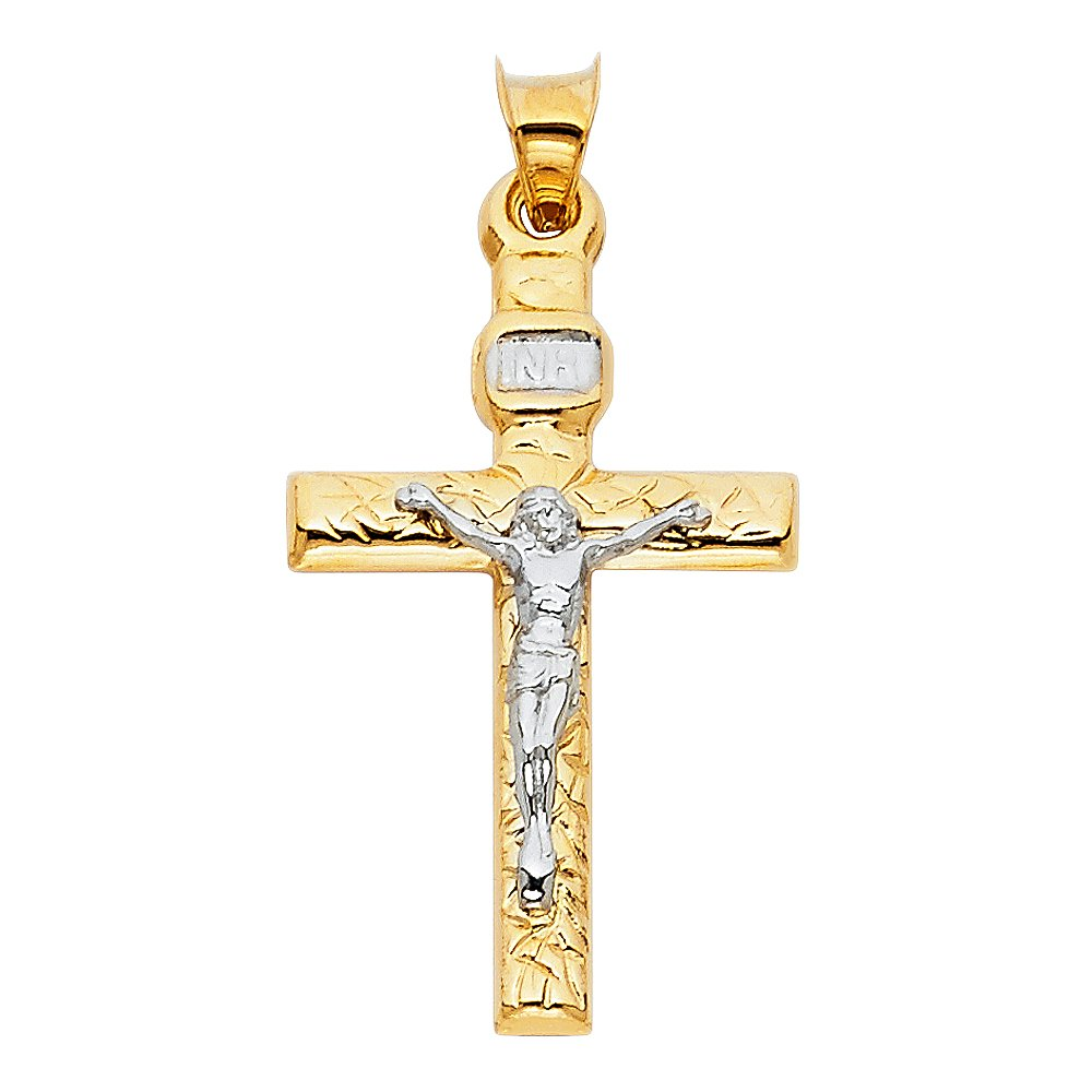 18 X 35mm Million Charms 14K Two-tone Gold Small//Mini Religious Mashed Crucifix
