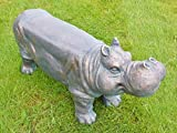 Wild Hippo Sculpture Kitchen Garden Patio Bench Stool Pub Bar Furniture Seating
