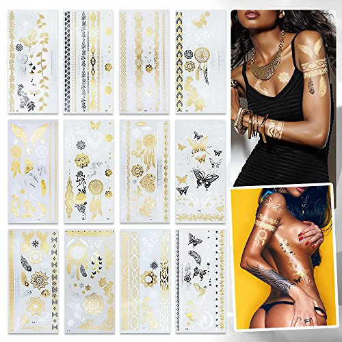Metallic Temporary Tattoos for Women Girls 12 Sheets Gold Silver Temporary Tattoos Glitter Shimmer Designs Jewelry Tattoos Flash Fake Waterproof Tattoo Stickers