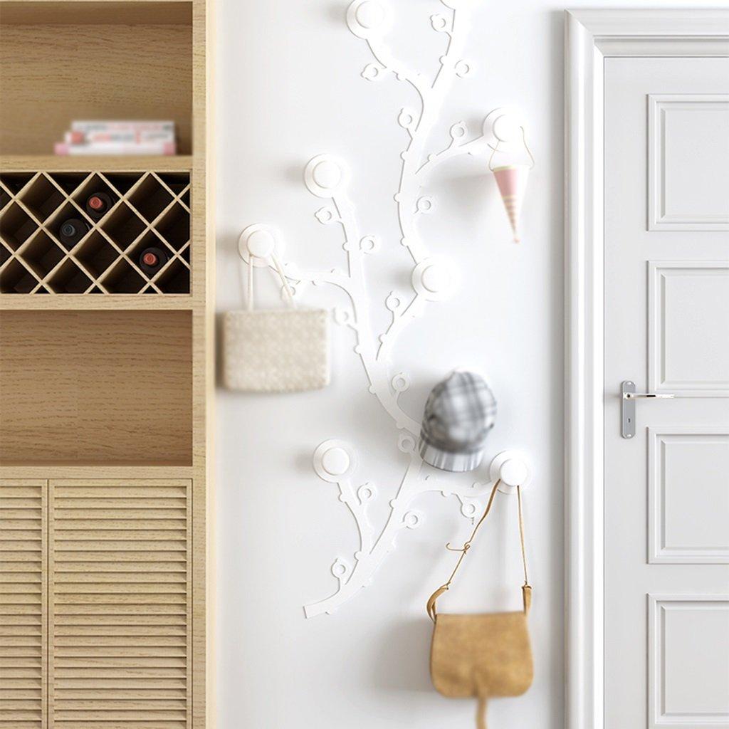 BSNOWF-コートラック コートラック壁掛けアイロンアートプラムブロッサムベッドルーム洋服帽子ベッドルームリビングルーム ( 色 : 白 ) B0796M12KC白