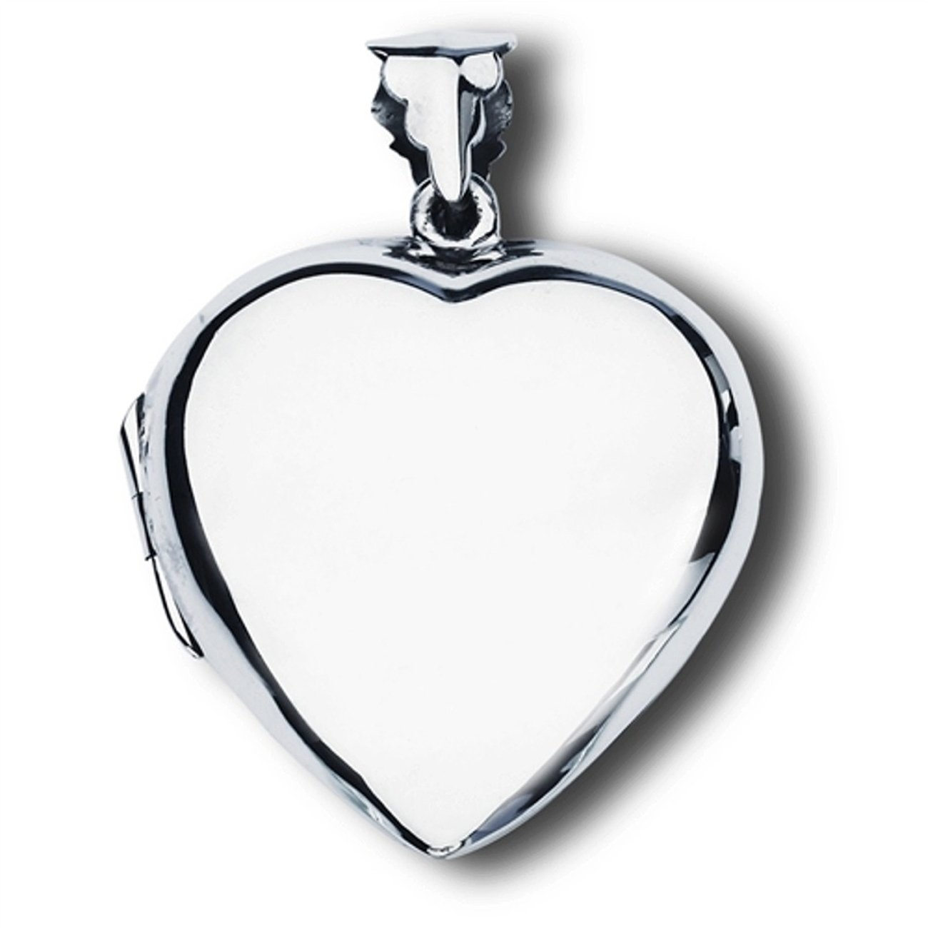 Sterling Silver Womens 16'' 1mm Box Chain Large Engraveable Plain Heart Locket Pendant Necklace