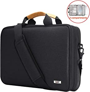 "BUBM Laptop Shoulder Bag 13-14 Inch Compatible for 13.3"" MacBook Pro,MacBook Air, 13.5"" Surface Laptop Case with Multiple Organizer Pockets, Carrying Briefcase Messenger Bag(Black)"