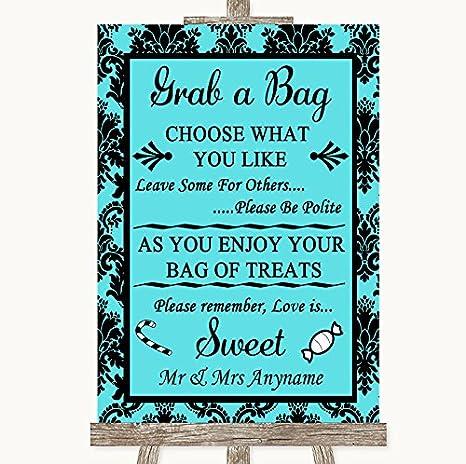 Amazon.com: Tiffany damasco azul Grab una bolsa Candy Buffet ...