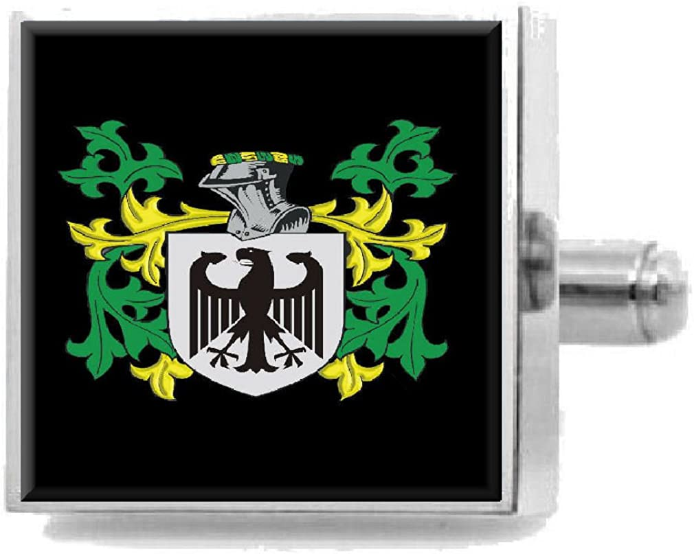 Select Gifts Henshaw England Heraldry Crest Sterling Silver Cufflinks Engraved Message Box