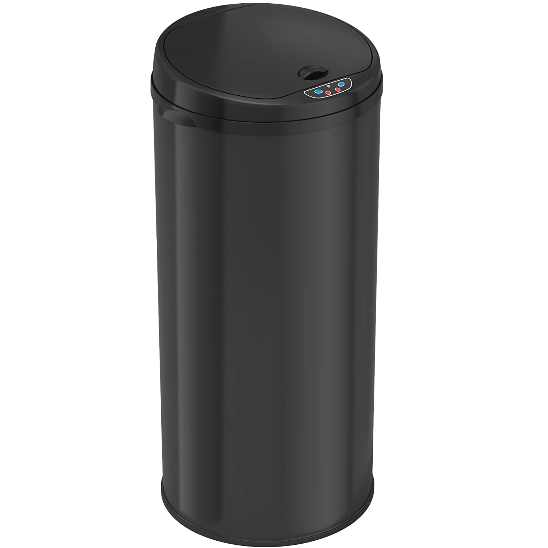 iTouchless 8 Gallon Automatic Kitchen Trash Can – Sensor Trash Bin – Black Steel – Round – Odor Control System