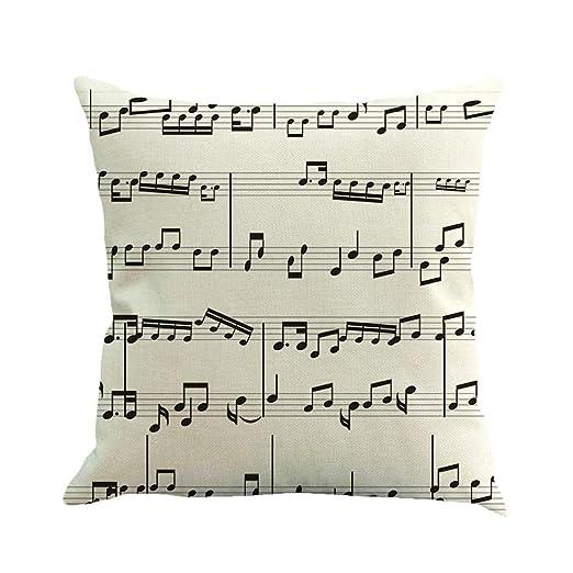 UROSA - Funda de cojín de Lino con diseño de Notas Musicales ...