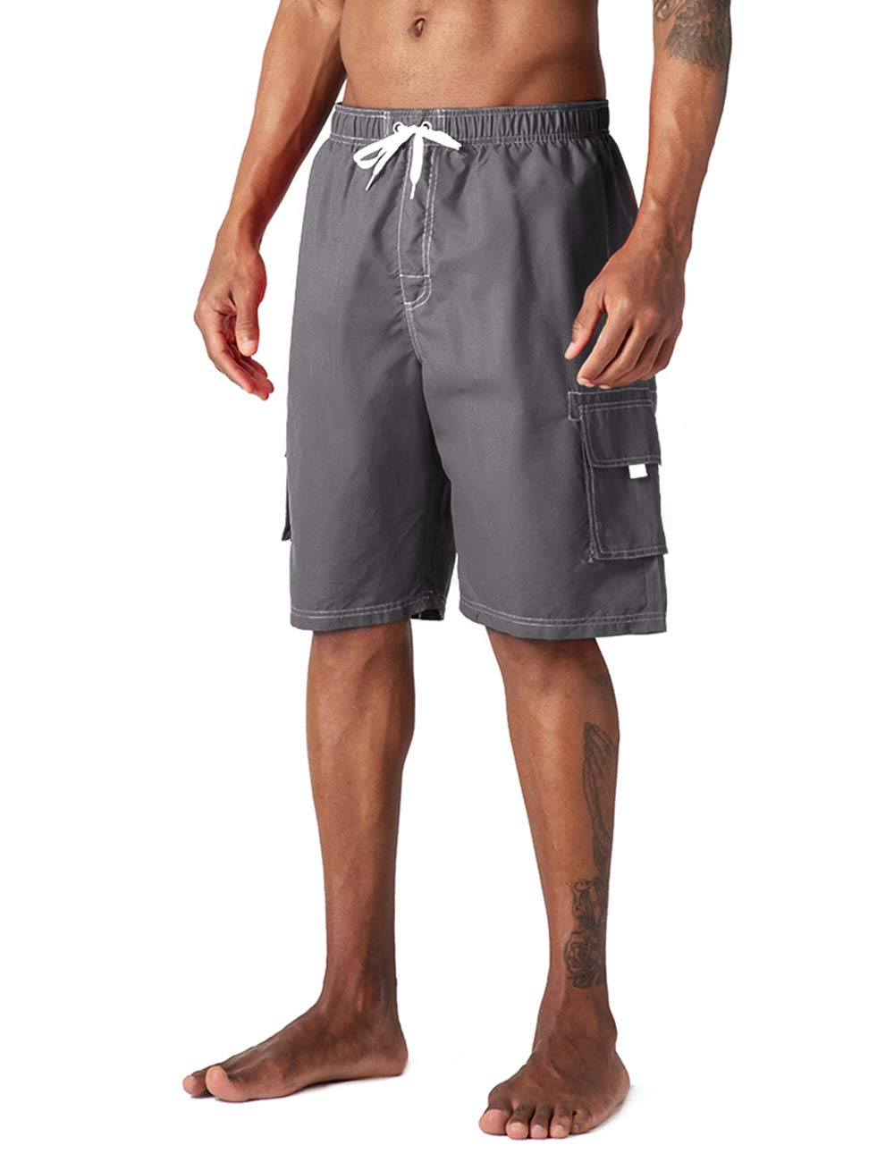Kyopp Men's Swim Trunks Quick Dry Beach Broad Shorts with Pockets (A-Light Gray, L) by Kyopp