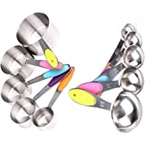 Kabeier Premium Measuring Spoons and Cups Stackable 10 Pcs Kitchen Set in Stainless Steel with Silicone Handle for Kitchen Cooking Baking