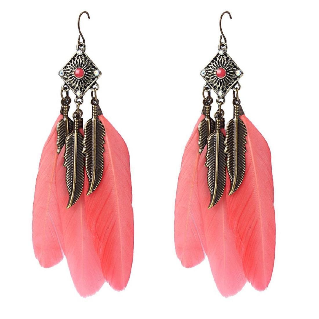 Coromose Vintage Leaf Earrings Feather Drop Earring (Red)