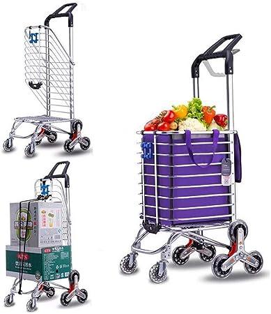 HRRH Carrito de Compras Plegable, Remolque de aleación de Aluminio Escalera Plegable Escalada Carrito pequeño Carrito de Servicio de lavandería con Ruedas y Bolsa de Lona: Amazon.es: Hogar