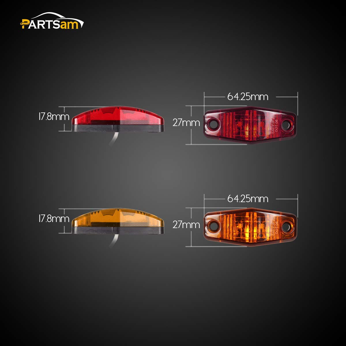 2.54x1.06 Sealed Mini Rectangular Rectangle Boat Marine Led Courtesy Lights Waterproof Partsam 4Pcs Mini 2.5 Inch Amber//Red Trailer Led Side Fender Marker Clearance Lights 2 Diodes Surface Mount