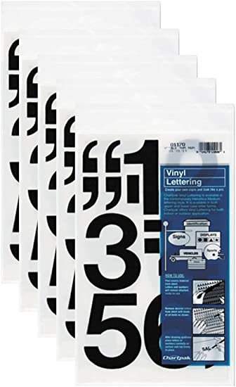 Chartpak 3-inch Black Stick-on Vinyl Numbers 5 PACKS 01170