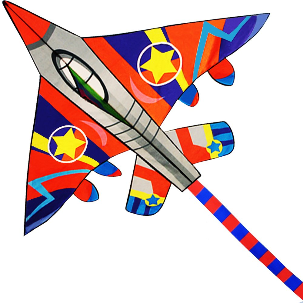 HUGE Fighter Plane Kite for Kids and Adults- 58''Wide with long tail- Easy Flyer - Kit Line and Swivel Included- Good for Outdoor Games and Summer the beach toys for kids by theColorfulLife