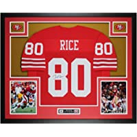 $595 » Jerry Rice Autographed Red San Francisco Jersey - Beautifully Matted and Framed…