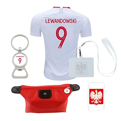 new products 604c4 74e49 Amazon.com: EE bestort Poland #9 Lewandowski 2018 Home Mens ...