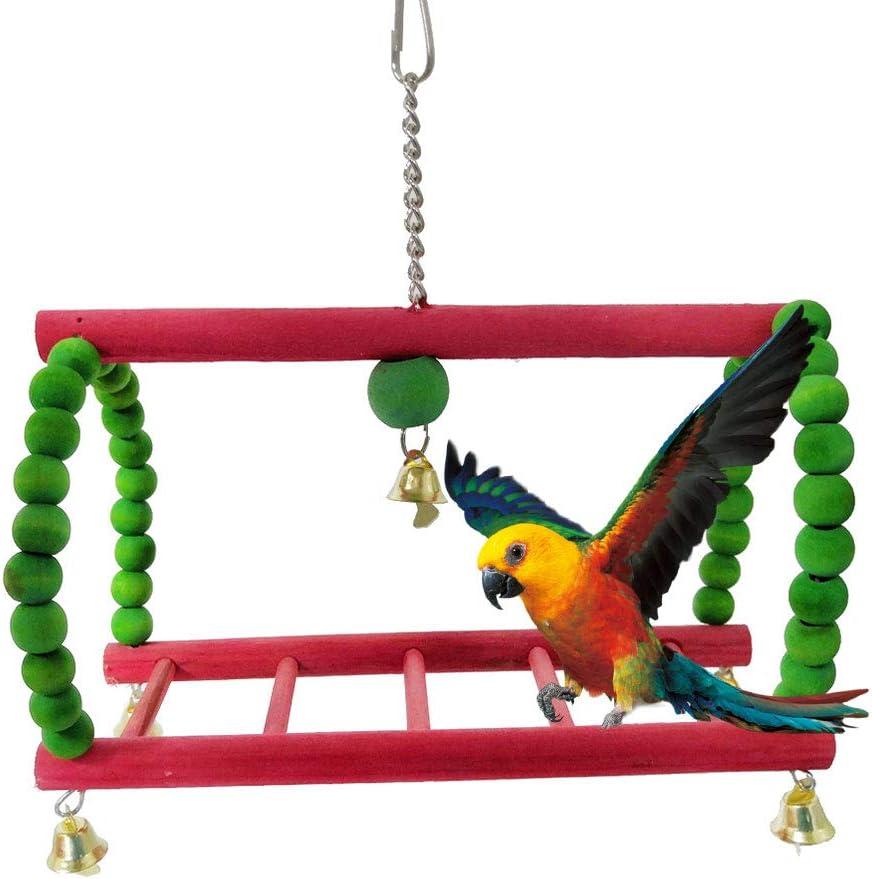 Feli546Bruce Juguete Loro, Loro Pájaro Mascota Campana Trepadora De Madera Escalera Giratoria Jaula Colgante Jugar Juguete Masticable Multicolor: Amazon.es: Deportes y aire libre