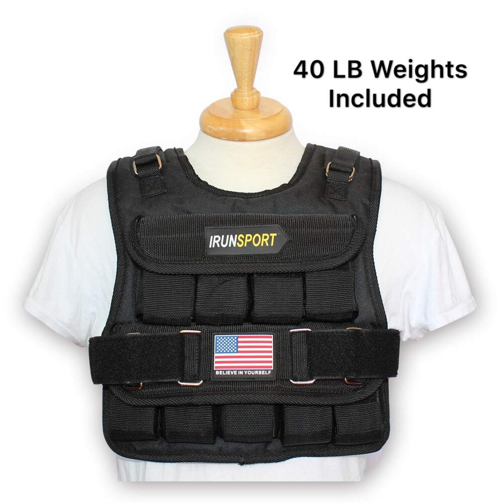 IRun Sport Weighted Vest for Men, 40lbs Adjustable Weights Included, Training Vests