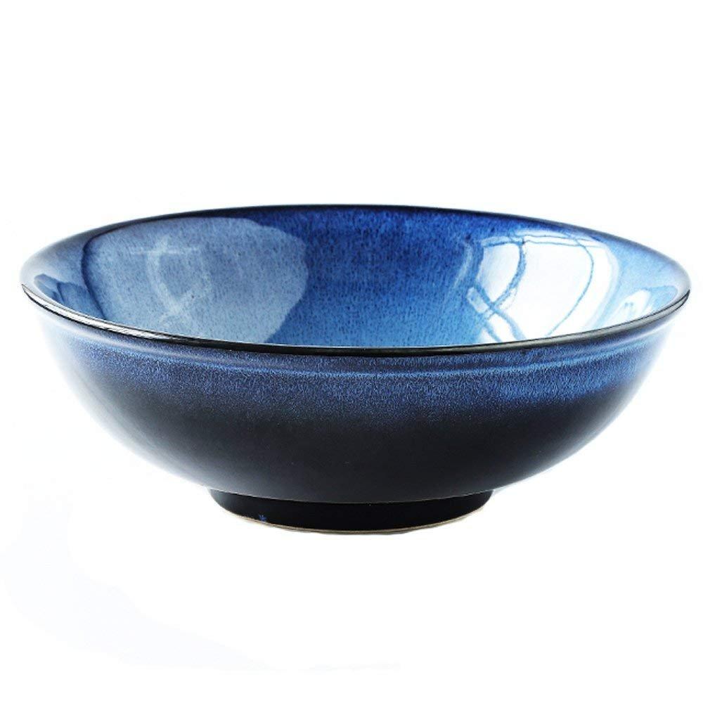 Nwn Salade de Fruits Grande capacité pâtes Bol Soupe Ramen Bol de Nouilles créative Vaisselle en céramique allant au Micro-Ondes 8, 5 Pouces Bleu vsdkgvl