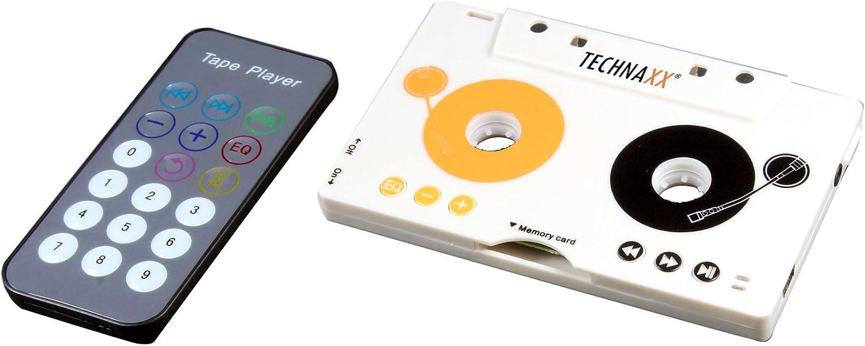 Technaxx DT-02 - Adaptador a casetes (Reproductor de MP3 inalámbrico, Auriculares, Ranura para Tarjetas SDHC, batería de Litio integrada para la Radio del Coche y Casete Adaptador)