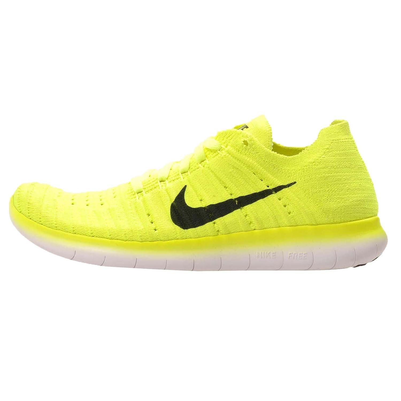 Nike Herren Free RN Flyknit (GS) Laufschuhe  385 EU|Verde (Volt / Black-white)