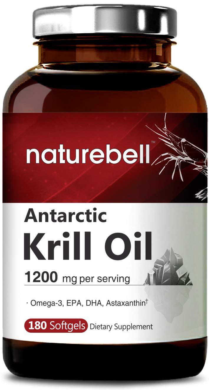 Antarctic Krill Oil, 180 Softgels, 1200mg Per Serving, Rich in Omega-3, EPA, DHA and Astaxanthin, Enhances Mental Health, Non-GMO